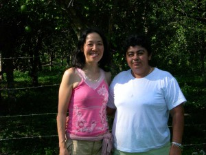 Miho Ota and a woman of the Guatemala women group